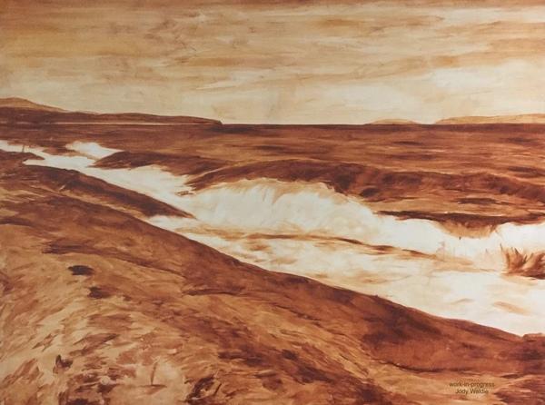 "Underpainting- ""Georgia Strait"" by Jody Waldie, oil on Canvas 36"" × 48""."