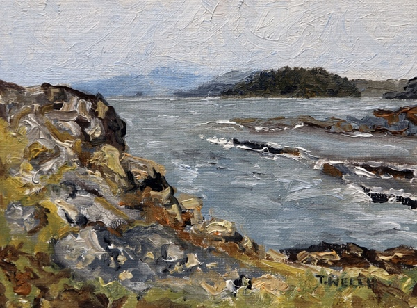 """Sold - """"Edith Point Study"""" by Terrill Welch oil on canvas paper 4.7 x 6.3 in"""