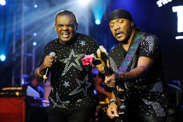 Ronald Isley (left) and brother Ernie perform in Memphis, Tennessee, in 2018. | Greg Campbell/Getty Images