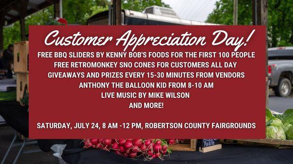 Rob Co Farmers' Market Customer Appreciation Day 2021!