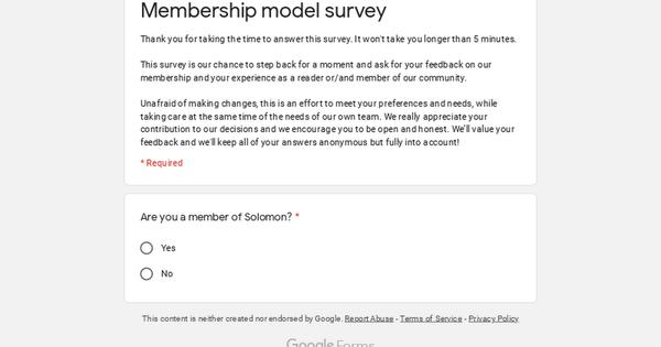 SURVEY   Membership model survey