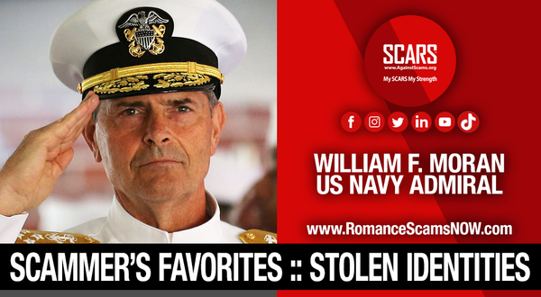 Admiral William (Bill) F. Moran - Another Stolen Identity Used To Scam Women | Impersonation Victim Galleries