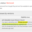 My app just got removed with no prior warning