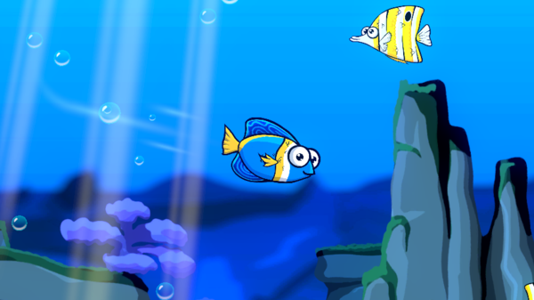 The main fish in blue and a passerby above (angelfish). Isn't it cute?!