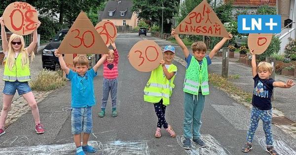 Tempo-30-Zone: Lübecker Kinder machen mobil gegen Raser-Verkehr im Heiweg