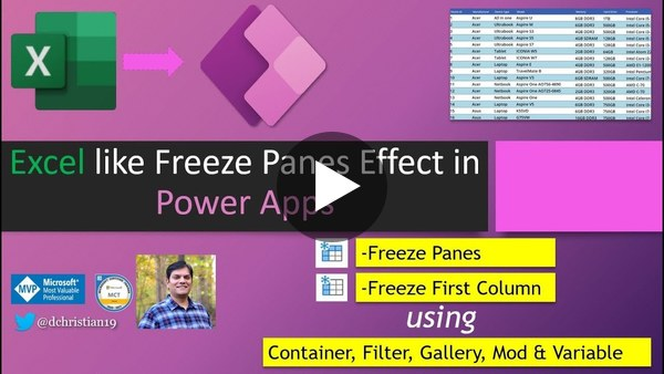 Excel like freeze panes effect in Power Apps