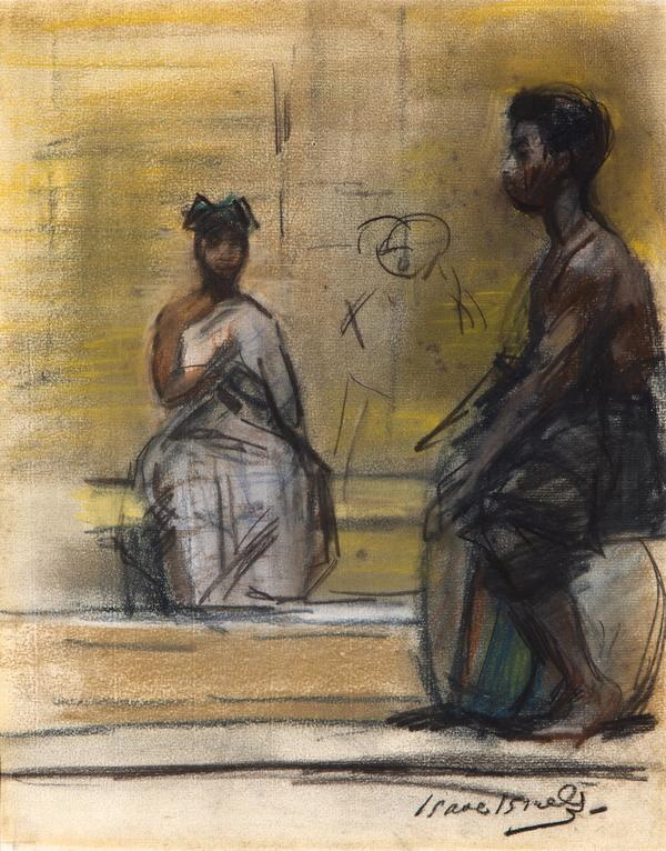 'Dancing and drumming Ashanti' ca. 1894 - pastel en houtskool op papier: Isaac Israels (herkomst: Venduehuis Den Haag, kavel 50)