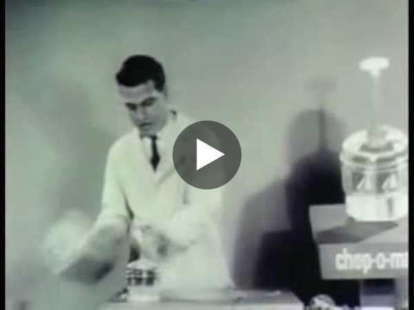 Ron Popeil shows off the Chop-O-Matic in the 1950s.
