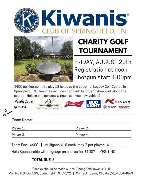 Kiwanis Club Charity Golf Tournament   August 20 at 12 pm