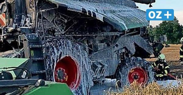 Großeinsatz für die Feuerwehr auf Usedom: Mähdrescher brennt nieder