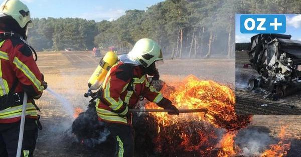Feuer auf Feld bei Mellenthin: Wind heizt Flammen immer wieder an