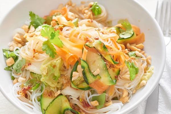 No-Chop Cold Veggie Noodle Bowls with Soy Lime Vinaigrette