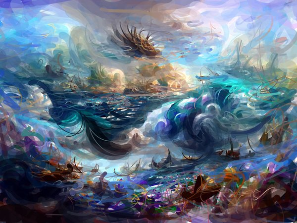 """""""a beautiful epic wondrous fantasy painting of the ocean"""" by @RiversHaveWings"""