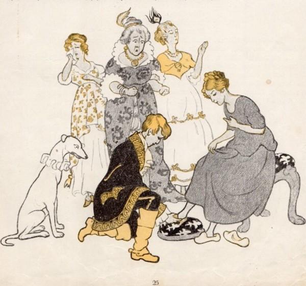 Eine Aschenputtel-Zeichnung von Gertrud Caspari. (Foto: Spielzeugmuseum Kleßen)