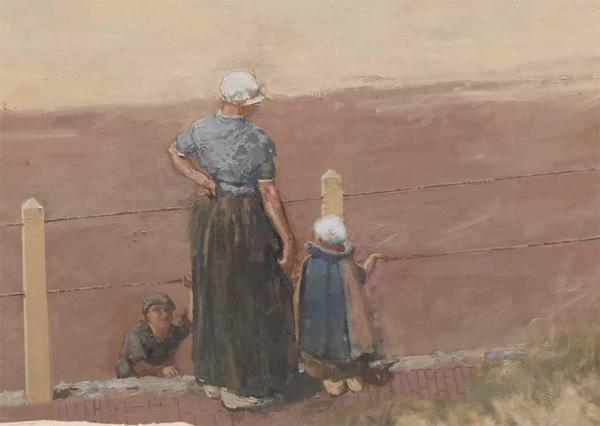 Bernard Blommers, detail van Panorama van Scheveningen: vissersvrouw en kind, 1881, (herkomst: coll. Museum Panorama Mesdag)