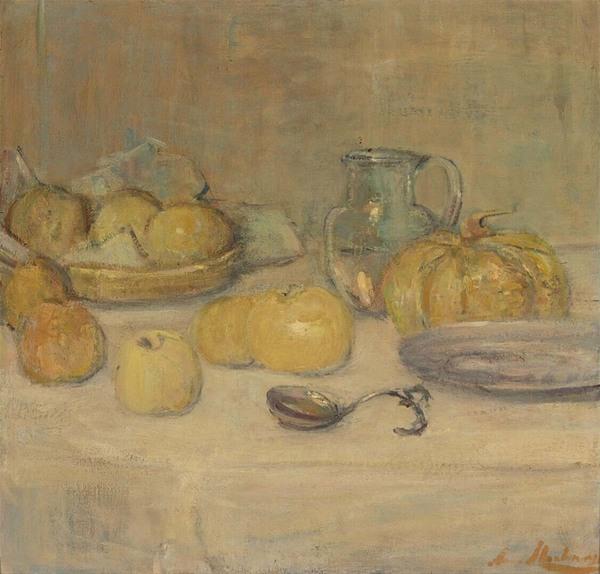 'Stilleven met appels en een meloen' - olieverf op doek: Anna Abrahams (herkomst: coll. Museum Boijmans van Beuningen, Rotterdam)
