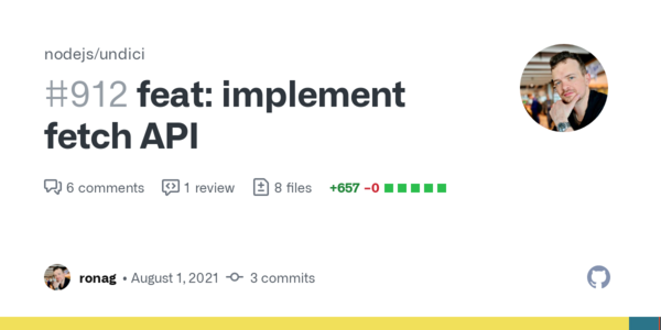 feat: implement fetch API by ronag · Pull Request #912 · nodejs/undici · GitHub