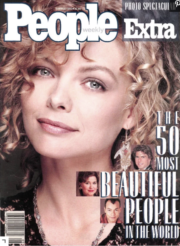 Michelle Pfeiffer on the cover of 1990 People Magazine most beautiful people.