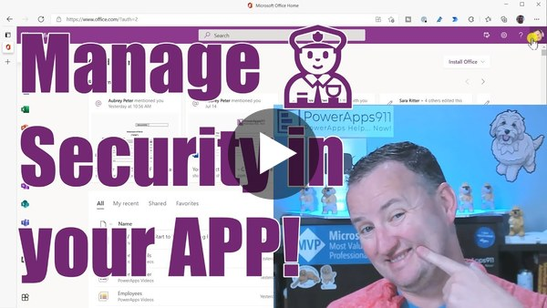 PowerApps Manage Access and Azure Security Groups from an app