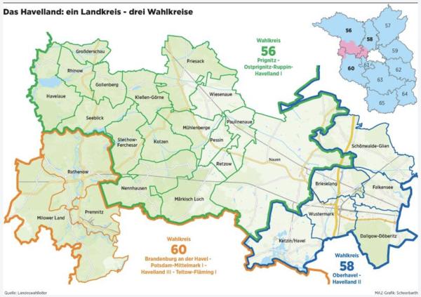 Das Havelland zersplittet sich auf die Wahlkreis 56, 58 und 60. (Graphik: MAZ/Scheerbarth)
