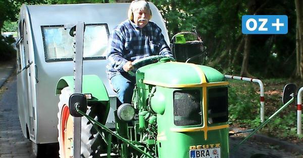 Tempo 15: Dieser Mann reist mit seinem Traktor nach Usedom
