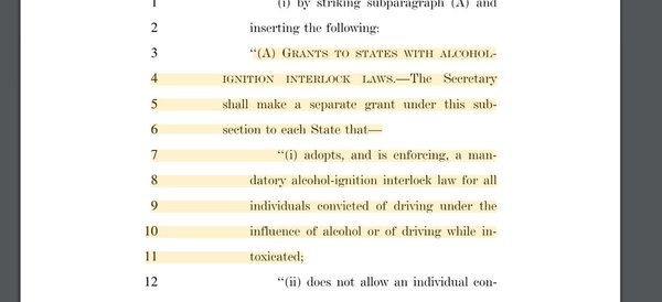 A bipartisan plan proposes to give grants to states introducing alcohol interlocks. It could be voted on as early as Thursday