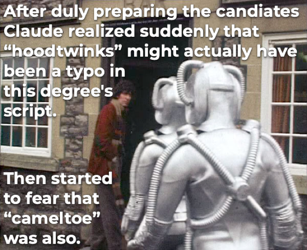 """Doctor Who vs """"hoodtwinks"""" and """"cameltoe"""""""
