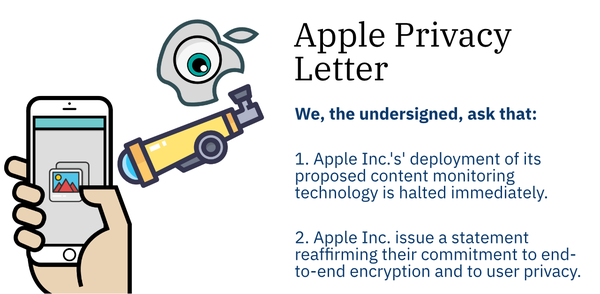 Apple Privacy Letter: An Open Letter Against Apple's Privacy-Invasive Content Scanning Technology