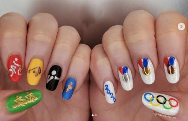 Olympics-themed puzzle nail art