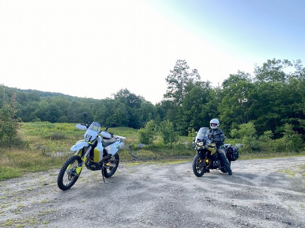 Heather and I out on dirt roads, she on the F750GS and me on the Husqvarna 701 LR
