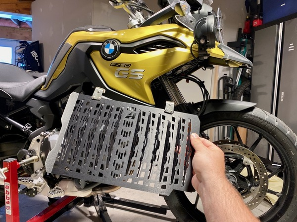 Heather's F750GS getting the AltRider treatment with a new radiator guard