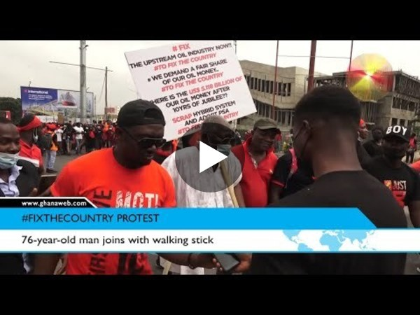 A 76-year-old man joins fix the country protest with a walking stick
