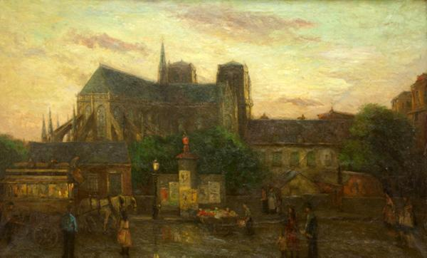 'Stadsgezicht Parijs met kathedraal Notre Dame' - olieverf op doek: Etienne Bosch (herkomst: coll. Kunsthandel Pygmalion, Maarssen)