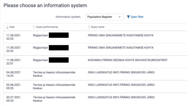 A screenshot of Estonia's Data Tracker. The first column indicates when a citizen's personal data has been accessed, the second column indicates which government agency accessed it, and the last column indicates why.