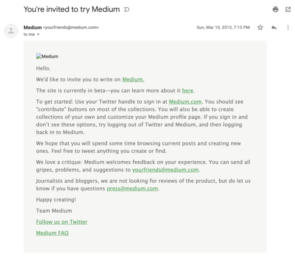 My initial invite to Medium in March of 2013.