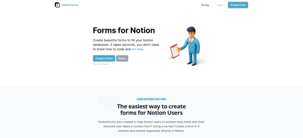 The easiest way to create forms for Notion Users
