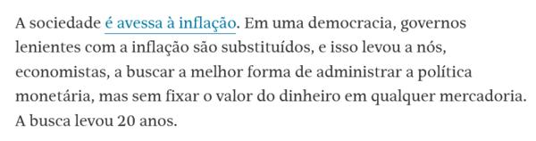 Nelson Barbosa - FSP 13/08 (recomendo ler os dois artigos dele sobre a história do padrão-ouro e da inflação)