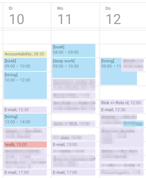 Blokken tijd in mijn agenda voor 'zwaar werk'.