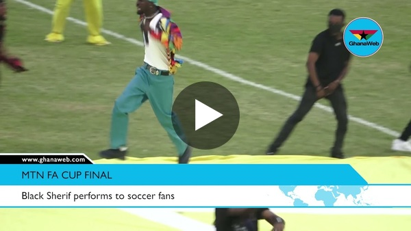 Black Sherif performs to soccer fans