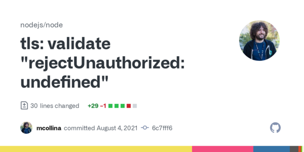 "tls: validate ""rejectUnauthorized: undefined"" · nodejs/node@6c7fff6 · GitHub"