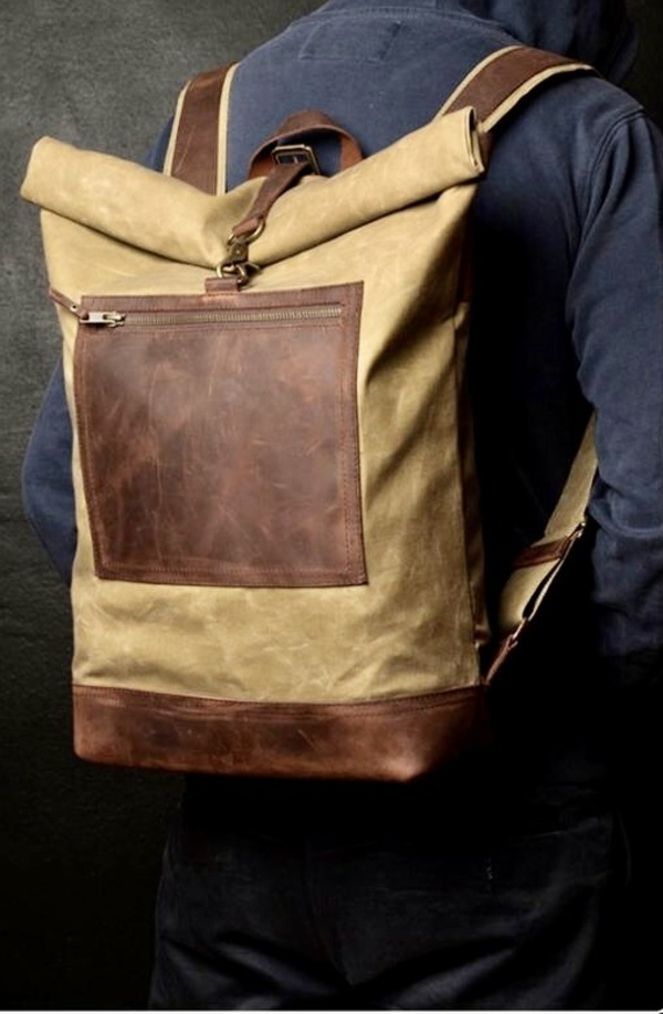 City leather canvas backpacks
