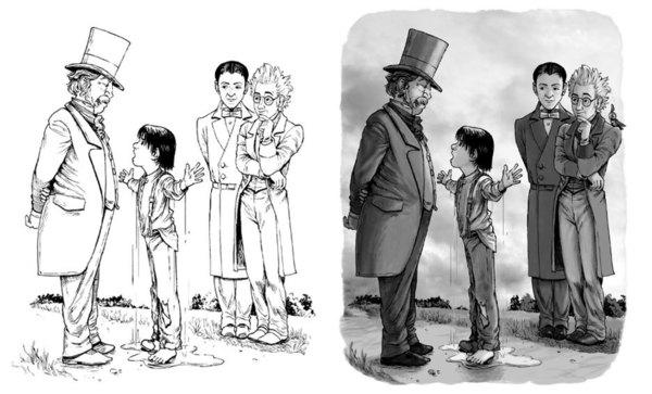 Inked image.                                                    Final illustration.