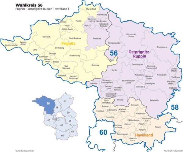 Bundestagswahl 2021: Wahlkreis 56. (Graphik: MAZ/Detlev Scheerbarth)