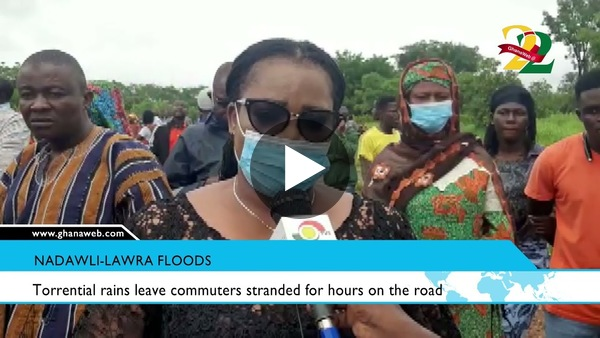 Torrential rains leave commuters stranded for hours on the Nadawli-Lawra road