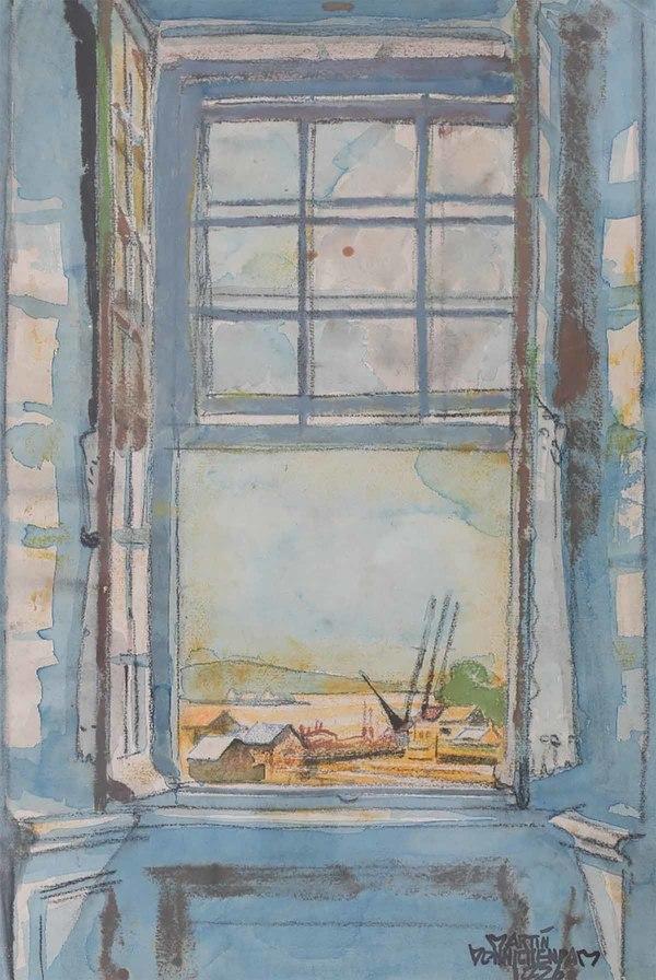 'Doorkijkje met uitzicht op een haventje' - aquarel: Martin Monnickendam (herkomst: Vendu Rotterdam, kavel 309)
