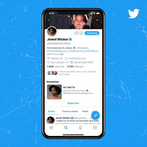 The new Subscription Button featured in Twitter profiles