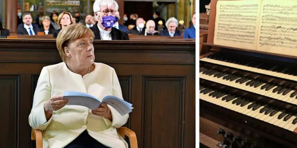 Bundeskanzlerin Angela Merkel (CDU) war am 3. Oktober 2020 zu Gast in der Kirche St. Peter und Paul – während des Gottesdienstes ging die Orgel kaputt. Quelle: Bernd Gartenschläger