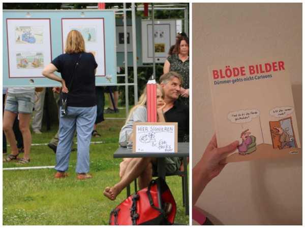 Cartoonair in Prerow und das Buch dazu (Fotos: Timo Richter/Gina Henning)