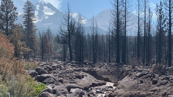 Hot summer is melting glaciers on Mt. Shasta, sending debris and mud flows down the mountain