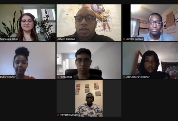Student representatives from The Bullhorn, UrbEd Advocates, Philadelphia Student Union and Philly Black Students Alliance participated in a roundtable discussion with Chalkbeat on Friday evening. Johann Calhoun / Chalkbeat